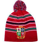 British & Irish Lions Stripe Bobble Beanie Hat - Red